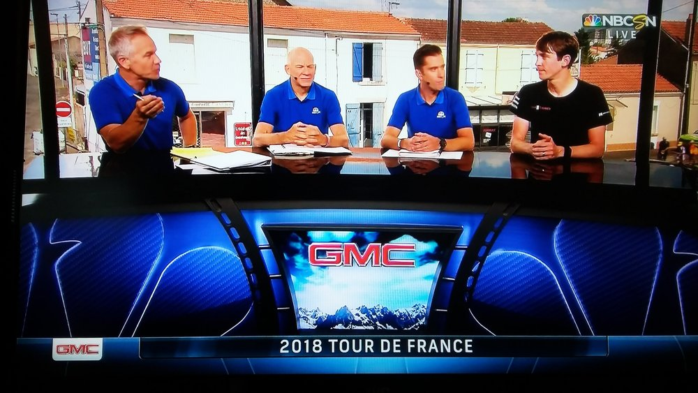 Chad Haga's interview on NBC Sports Network after stage 1 of the 2018 Tour de France