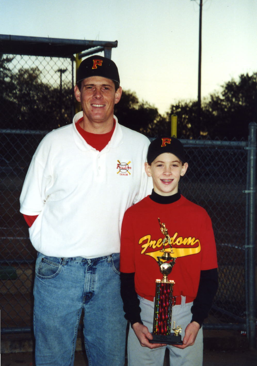 "Chad with Coach Pops (and Chad's ""favorite shirt ever"")"