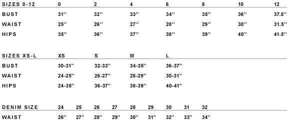 HELMUT LANG SIZE CHART