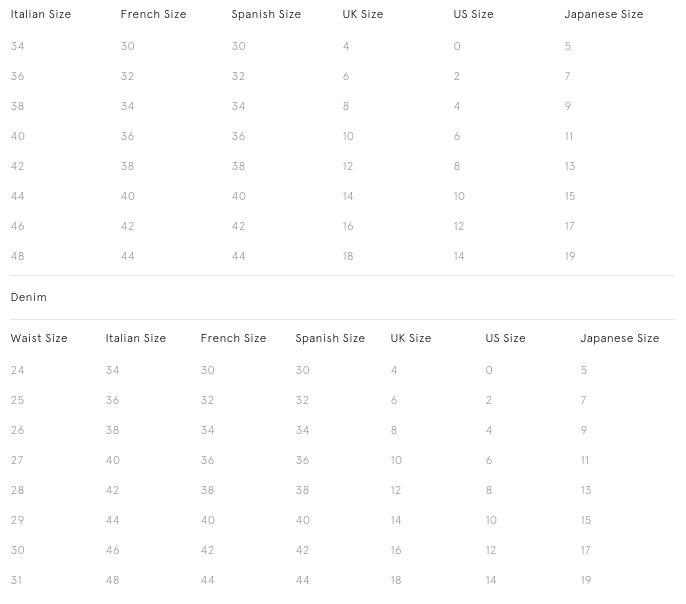 Stella McCartney Size Chart