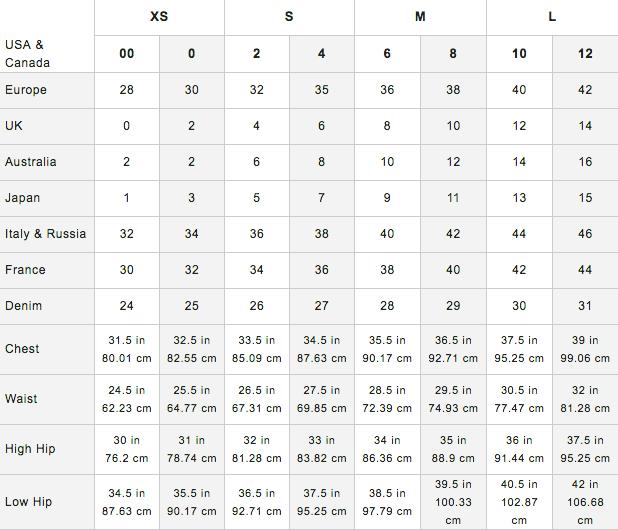 Rebecca Taylor Size Chart