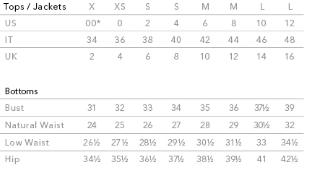3.1 Phillip Lim Size Chart