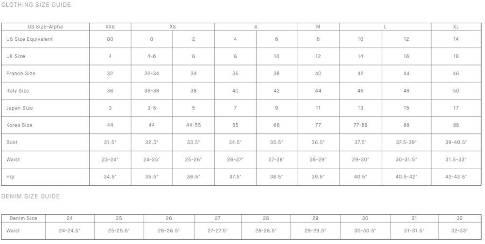 Vince Size Chart