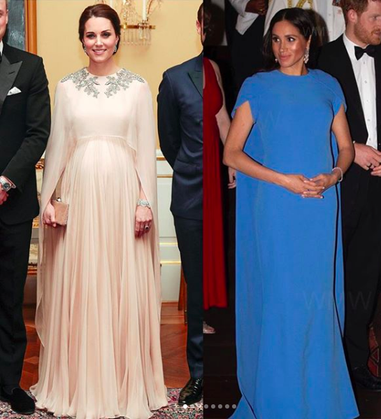 Kate Middleton in Alexander McQueen and Meghan Markle in Safiyaa