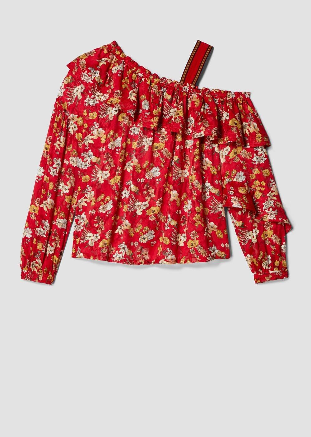 Derek Lam One-Shoulder Ruffle Bouquet Floral Print Silk-Blend Jacquard Blouse