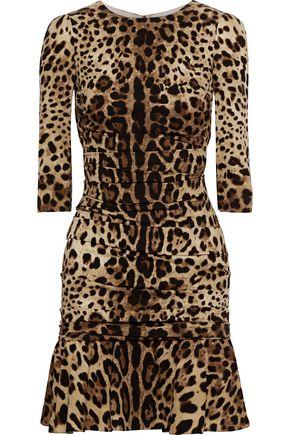 Dolce Gabbana Ruched Leopard Print Dress