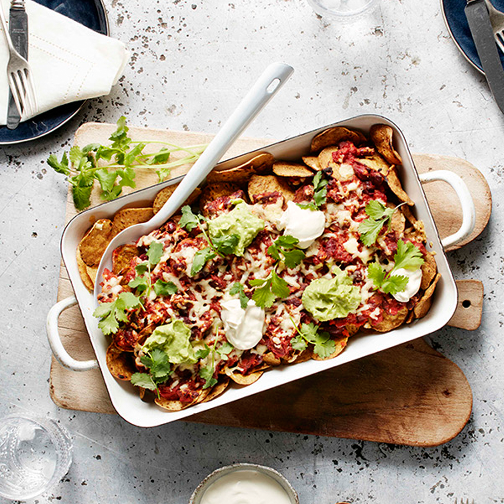 SMOKEY BACON & BEAN FALAFEL CHIP NACHOS -