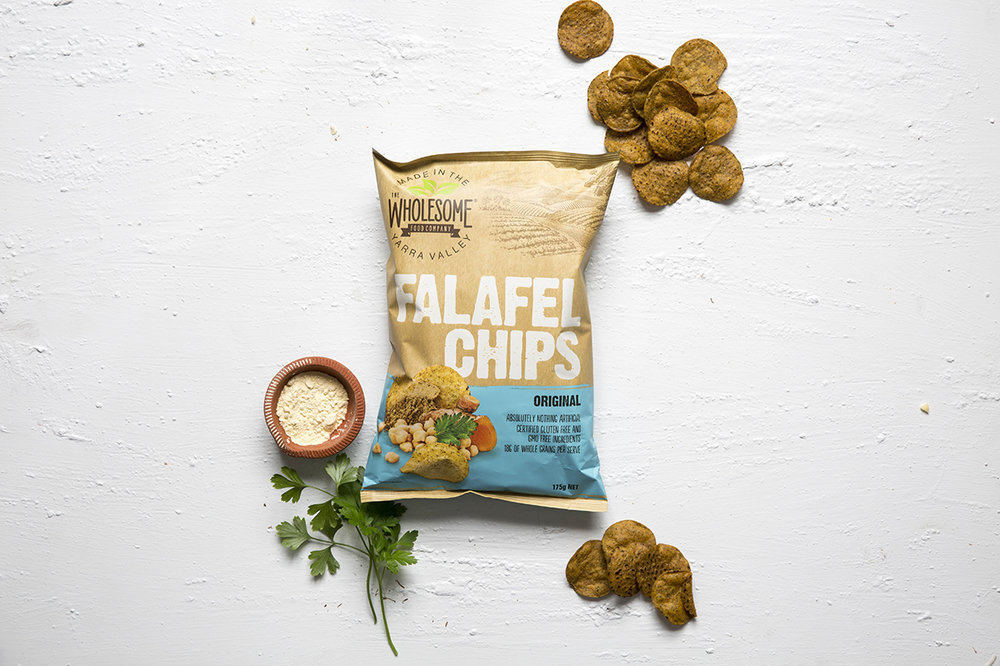 Falafel Chips (Original) - Our falafel chips are a gluten free snack, with absolutely nothing artificial added. The unique combination of subtle spices delivers the flavours of falafel, with a little extra crunch. Available in a 175g pack with 18g's of whole grains per serve.Also available with ChilliView ingredients