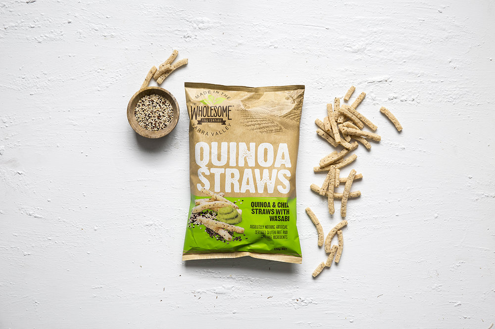 Quinoa and Chia Straws with Wasabi - Our Quinoa Straws are a delicious gluten free and GMO free snack to tantalise the palette, combining the ancient grains of quinoa and chia with the fusion of wasabi flavour for a subtle kick. Available in a 120g pack.View ingredients