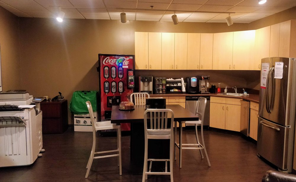 The kitchen area of my Indianapolis office