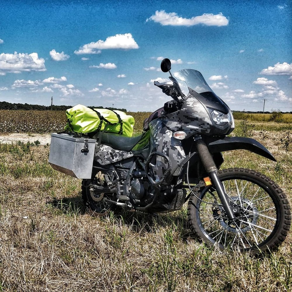 KLR in a Mississippi cotton field