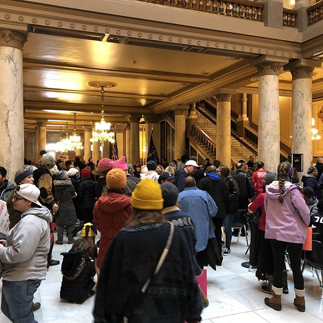 The line was so long we didn't make it in until the end of #marchforourlivesindy, but it's been beautiful to see a crowd of thousands gather here to support common sense gun reform. #neveragain #marchforourlives @sendonnelly @sentoddyoung @susanwbrooks @govholcomb
