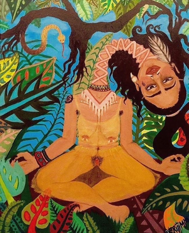 """Urban Jungle""   by:Briana Maldonado-  @briiimm    18x2in    Acrylic on Canvas"