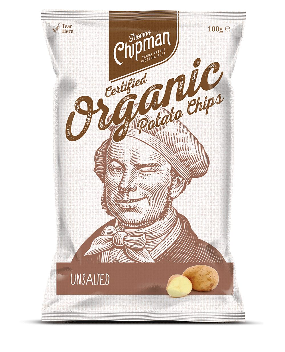 - Thomas Chipman® Unsalted Potato ChipsIt was then due time to celebrate the delicious taste of organic potato; I realised it was so flavourful it doesn't require any seasoning to shine. I created an Unsalted version to honour the natural and flavourful organic potato in all its glory. Available in a 100g pack.