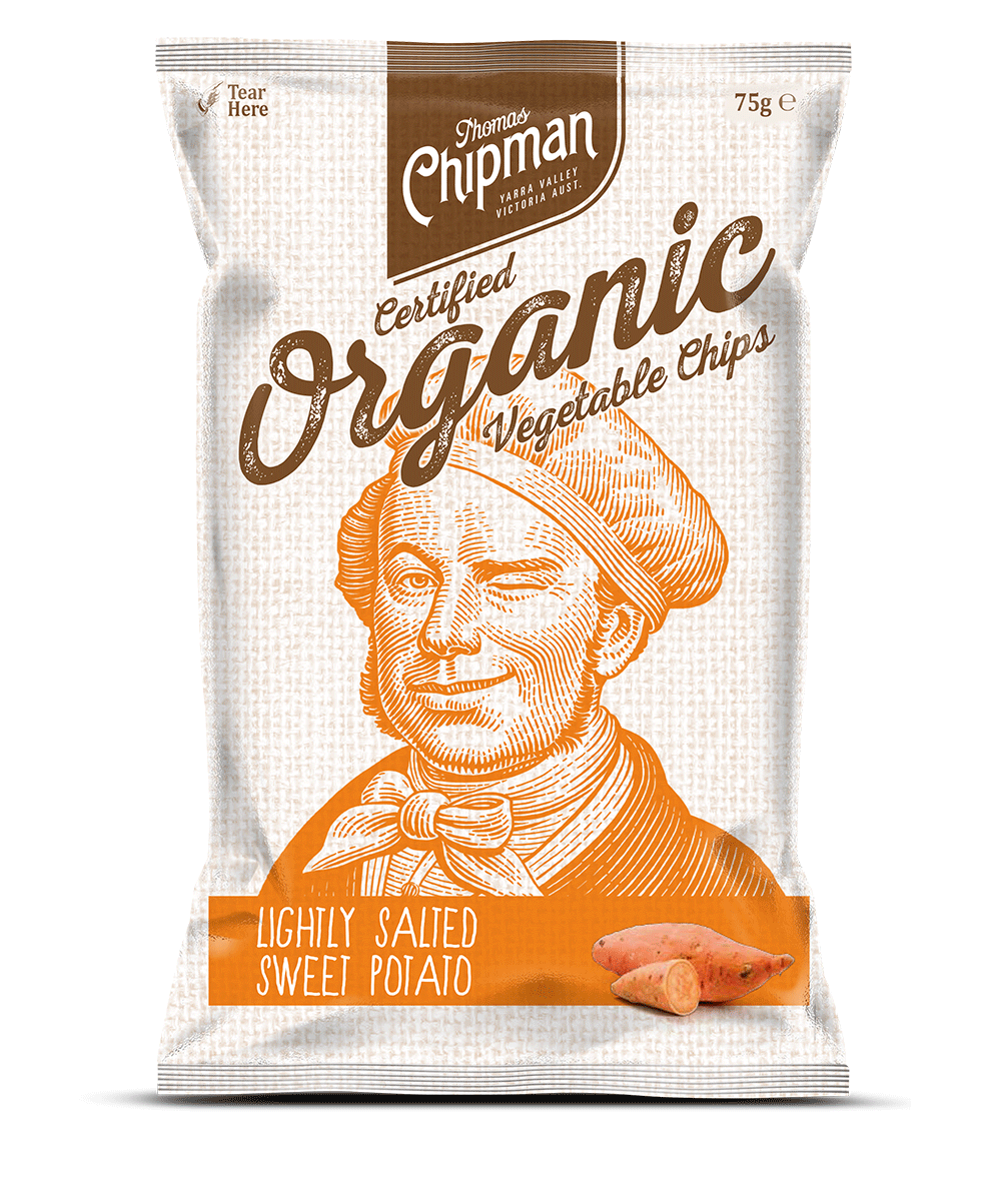 "- Thomas Chipman® Sweet Potato ChipsThere was a time when the sweet potato was considered the ""food of the rich"" and favoured among the royal houses of England and Europe. These delicious morsels are delicately crispy and full of natural sweet flavour. Available in a 75g pack."