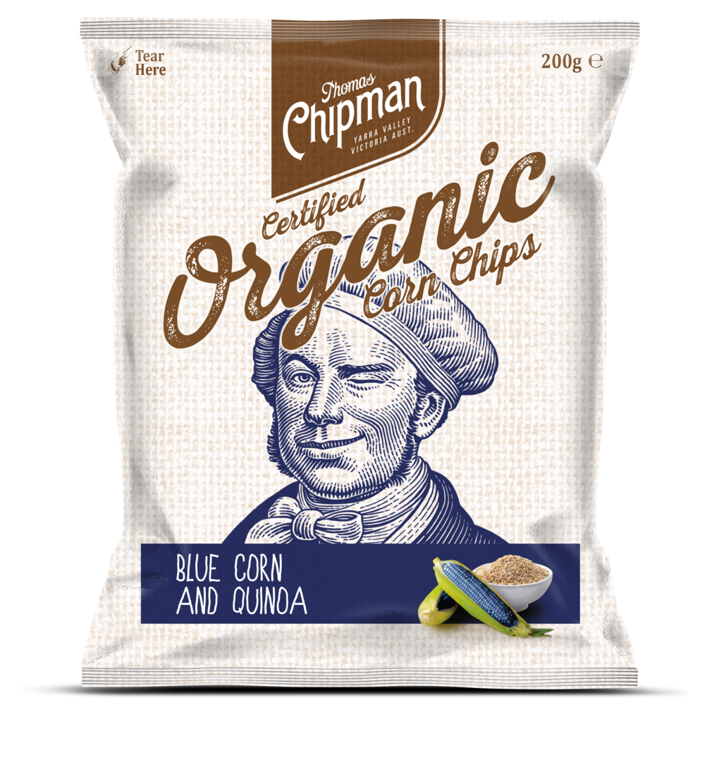 - Thomas Chipman® Blue Corn & Quinoa Corn ChipsThe bringing together of corn that is blue and quinoa that is of superfood status to create an amazing chip that is as visually stunning as it is tasty is a testament to the pure artistry the world has come to expect from its favourite chip man. Available in a 200g pack.