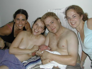 Happy family with their midwives-welcome Griffin!