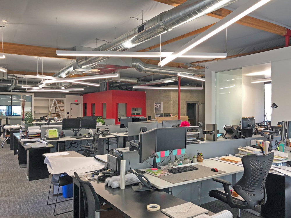 RED Inc Architects new open studio layout provides a workspace that fosters creativity and collaboration.