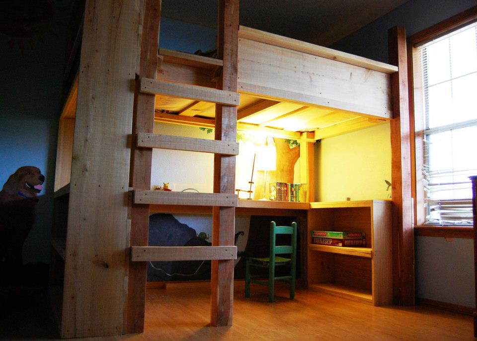 cedar & cypress bunk bed with desk