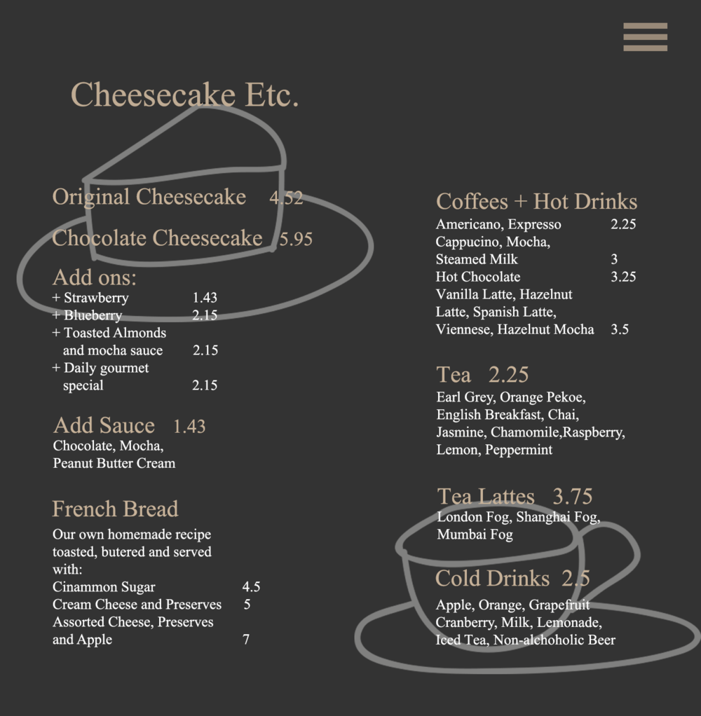 - 3. The menu is the second most demanded thing to see after the Gallery