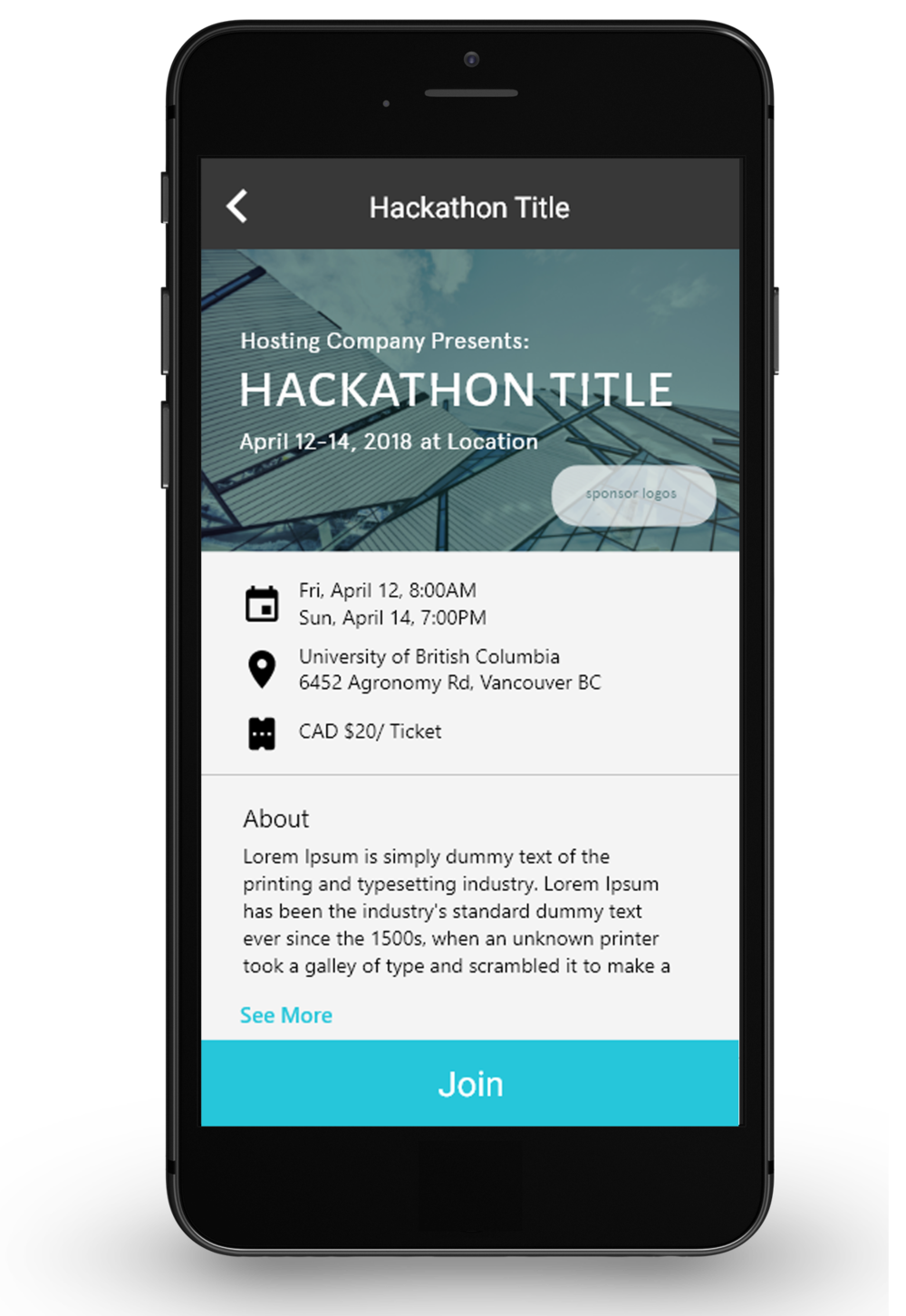 See details about the Hackathon - Made the UI organize information better