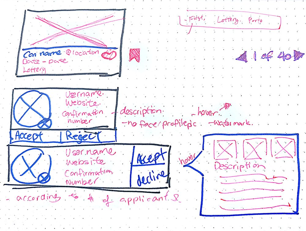 Card Designs - From paper wireframes, I learned that the card design for website needs to have more information and detail. I am sketching out different forms the cards can take.