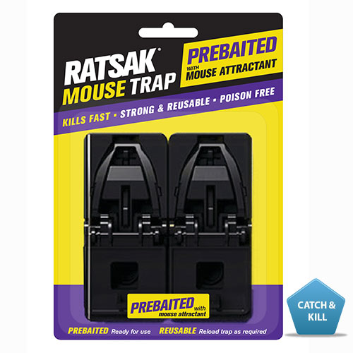 RATSAK® PreBaited Mouse Trap - 2 pack    This mouse trap comes ready to use with non-toxic bait which is highly attractive to mice. Just remove the foil, set and place. Learn more