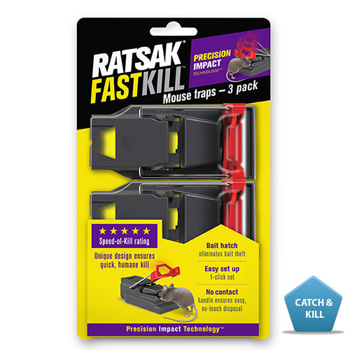 RATSAK® FASTKILL™ MOUSE TRAP    An innovative and unique designed mouse trap, which kills mice quickly, effectively and humanely. It is easy to use,  'one click' trap set for easy set up, and a bait hatch for easy baiting.  Learn more