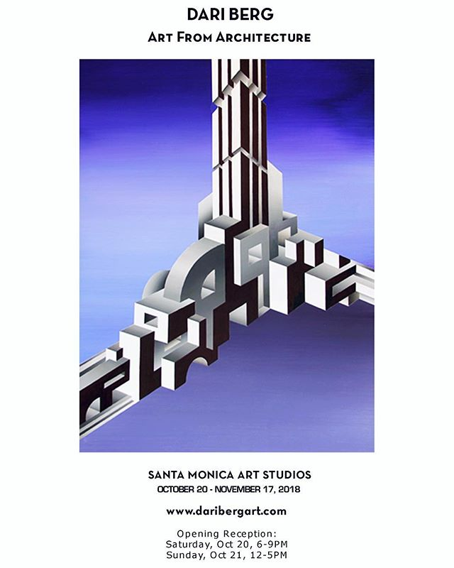 Excited to announce I'll be part of an art exhibition at Santa Monica Art Studios @santamonicaartstudios from Oct 20-Nov 17. Please join us for the Opening Reception this Saturday, Oct 20th from 6-9 pm and Sunday, Oct 21st from 12-5pm. Hope to see you there!  #losangelesartist #ukrainianartist #art #painting #architecture #architect #laartist #artla #santamonicaartstudios #marvista #venice #design #daribergart #artexhibition