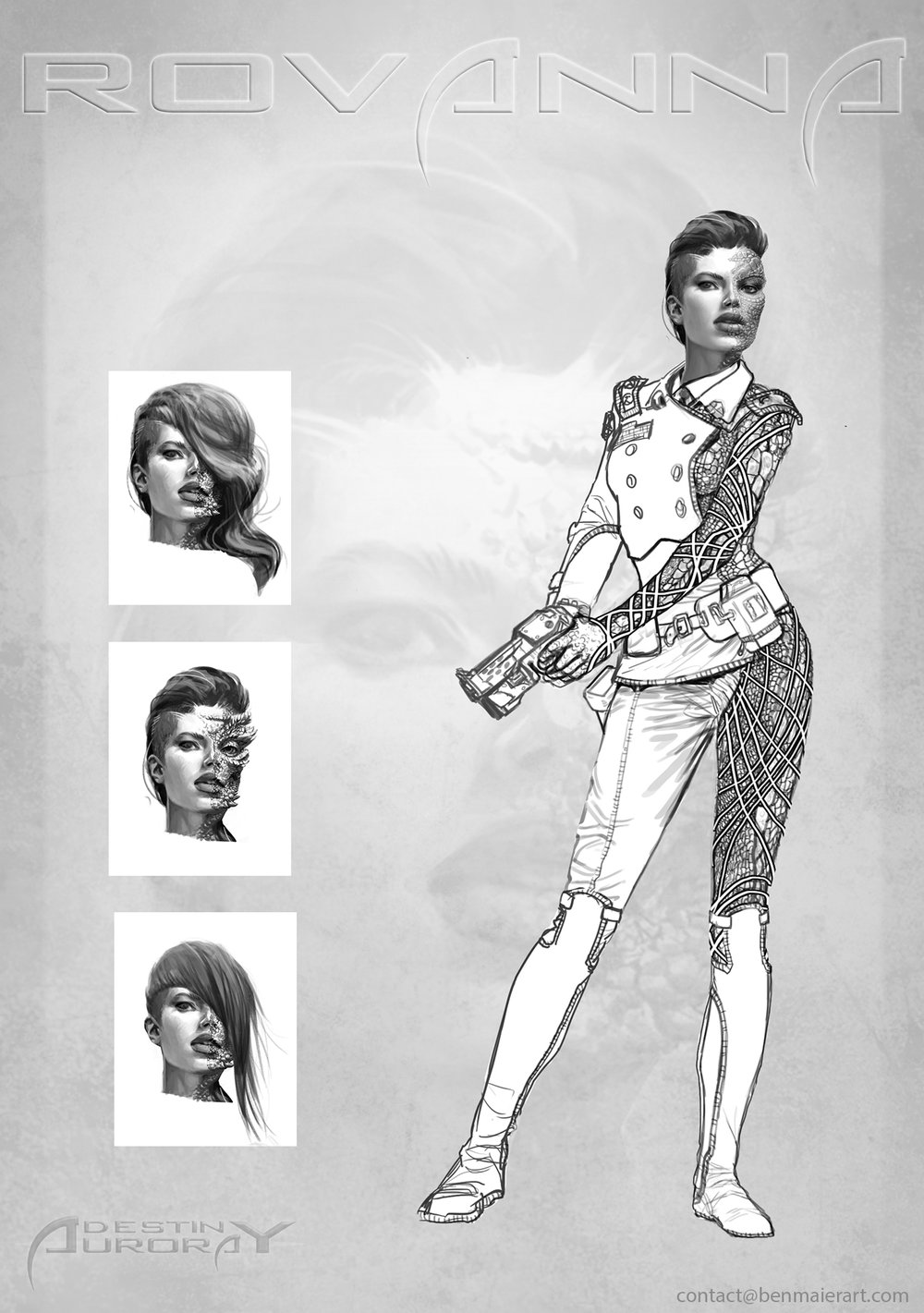 Early character concept for Destiny Aurora's  Rovanna , Copyright by Frank Zanca