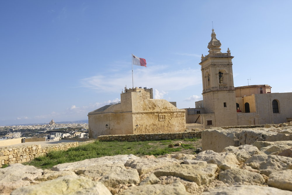 Gozo's Cittadella, with the church and the sea in the far distance