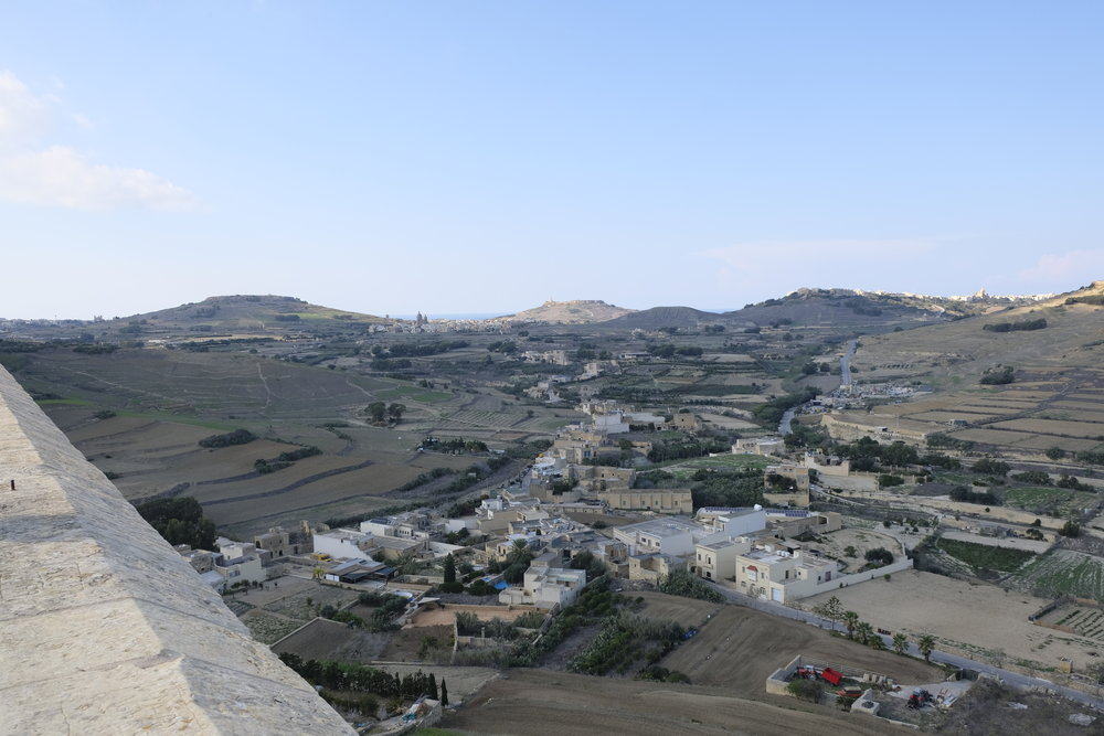 A view from Gozo's Cittadella, showing agricultural land in the foreground