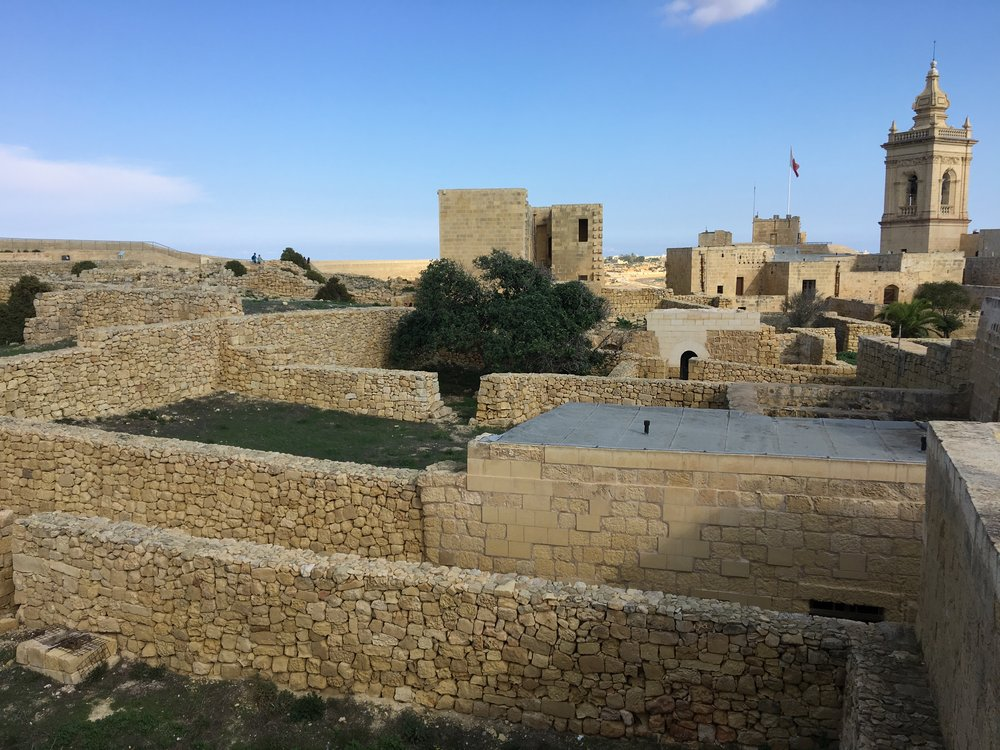 Stone walls at the top of Gozo's Cittadella