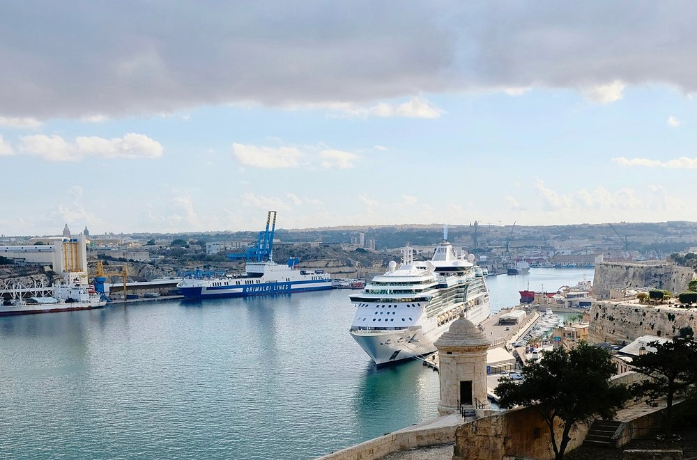 Cruise ship, Malta's Grand Harbour, not far from the struggling turtle ( Picture © Paul Wheatley )