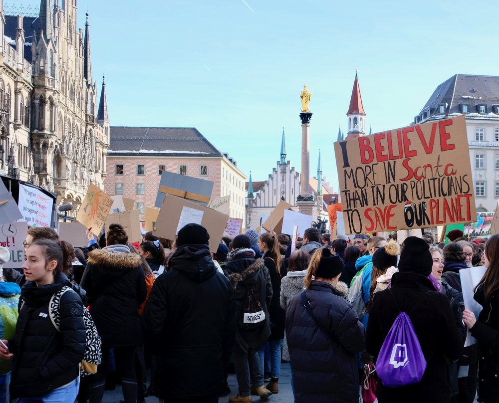 Kids gathering in Munich's Marienplatz after the inner city march demanding the world acts on climate change