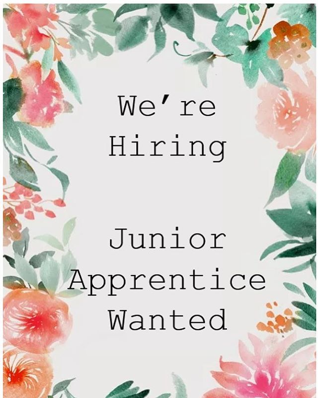 Exciting opportunity to join our team - looking for a creative junior apprentice. Send your resume via email to gisbornecottageflowers@gmail.com #apprenticeflorist
