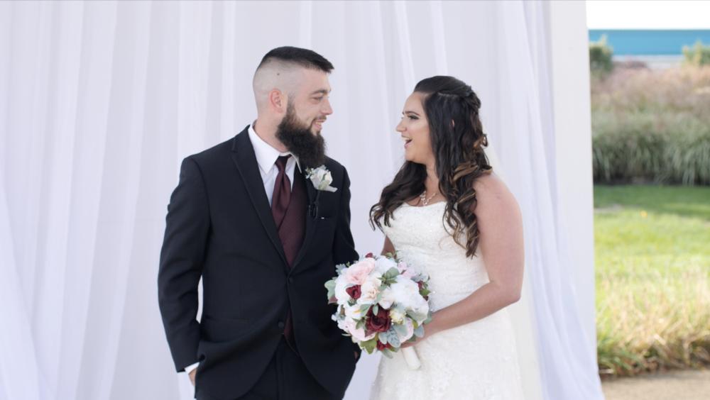 bride groom couple wedding outdoor flowers fall reclick video