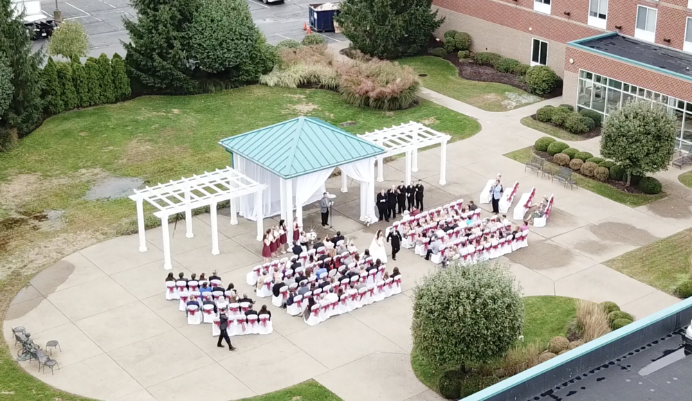 drone outdoor ceremony fall day wedding pittsburgh