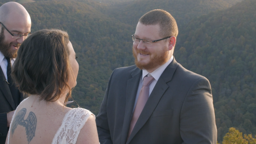 groom vows coopers rock elopement