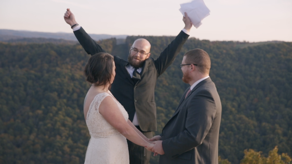friend elopement officiant west Virginia ravens rock