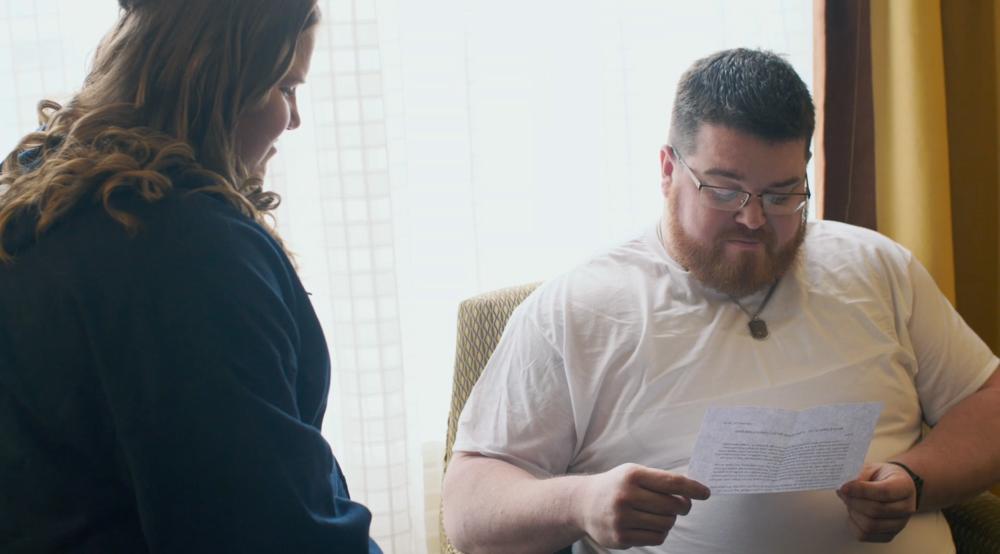 Letter reading groom morning wedding reclick