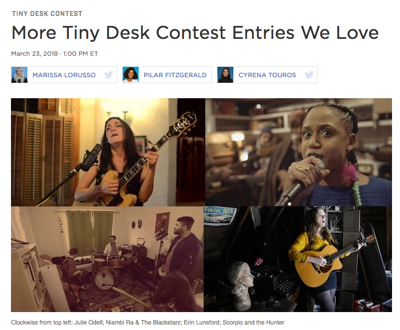 NPR's All Songs Considered Feature! - Erin's Tiny Desk Contest entry was featured on NPR's All Songs Considered Blog for entries that they love. Read the blurb and watch the video HERE.
