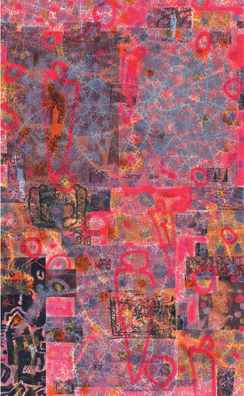 Rotsprühflämmlerdruckcollage
