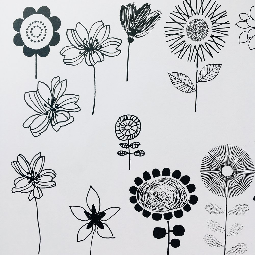 Drawing flowers in '20 ways to draw a tree…'