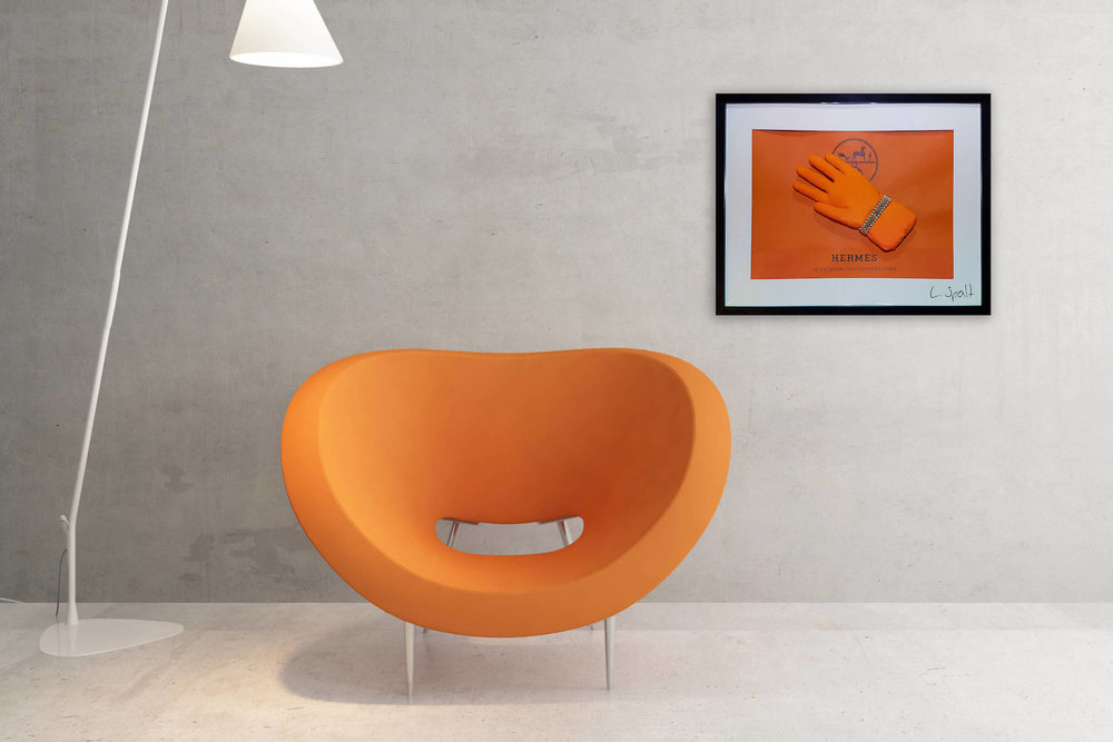 Status Bubble - Orange latex glove with Rolex bracelet in front of Hermès background behind (bubble bent) acrylic glas in a dark wood frame.Limited to 1 piece