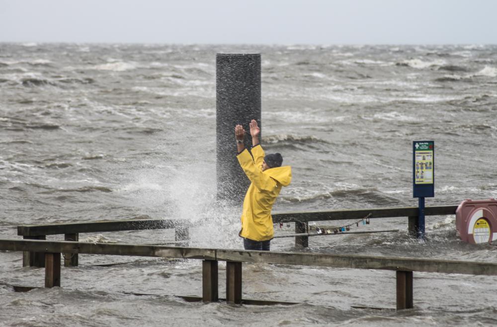 Sturm an der Nordsee in Südwesthörn