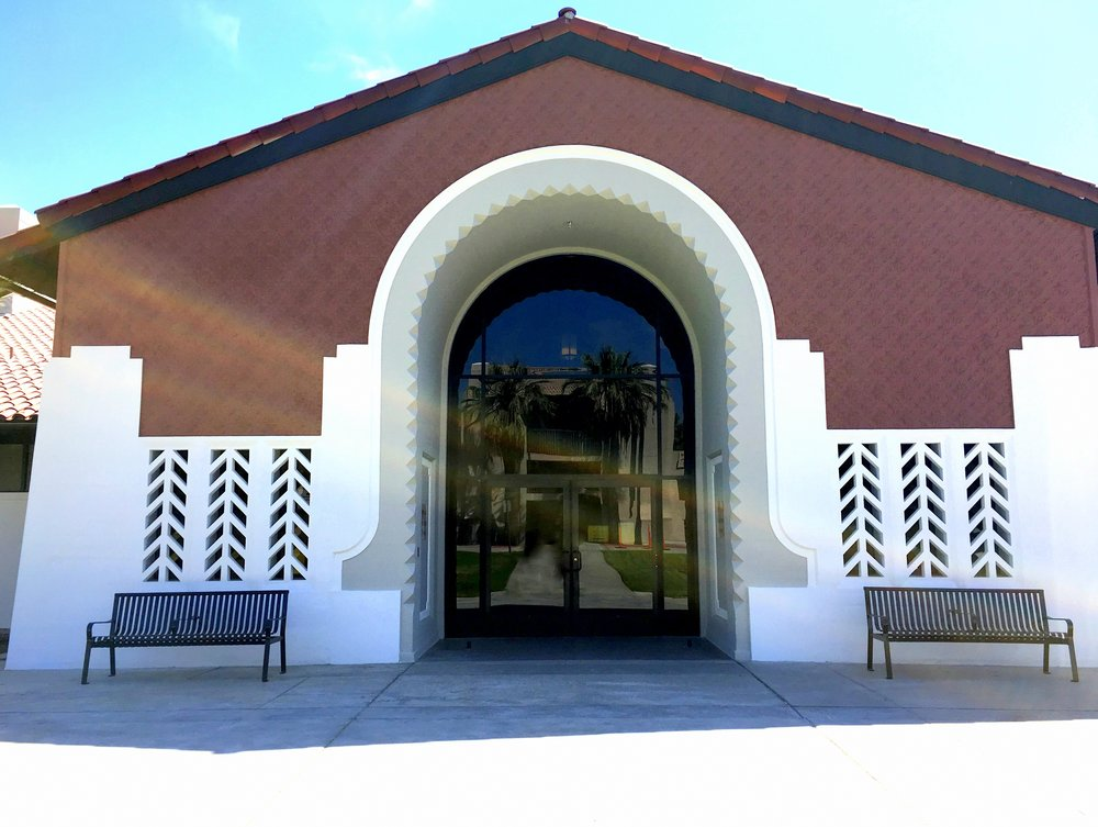 Classic Art Deco stylized entrance to the Glendale Civic Auditorium welcomes visitors in style from a bygone era