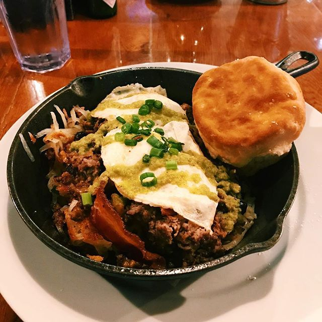 Thanks @threeshinsters for sharing your love for Scrambled! Here's what they had to say:  #Repost @threeshinsters ・・・ Low quality photo, high quality brunch! I so wish @scrambledgso was closer but I went back this weekend on the way to #wsnc. Pictured are Three Little Pigs and Country Style in a skillet with a biscuit (because why would you get a toast over a biscuit?)! - - - #brunch #biscuitsandgravy #bacon #noavocadotoastthistime #millenials #millenialsbrunching #saturdaybrunch #greensboro #gso #triadnc #yelptriad #wsnc #skillet #ncfoodfinds #eatlocal #foodielyfe #food #foodie  We love hearing your Scrambled stories! #getscrambled 🍳