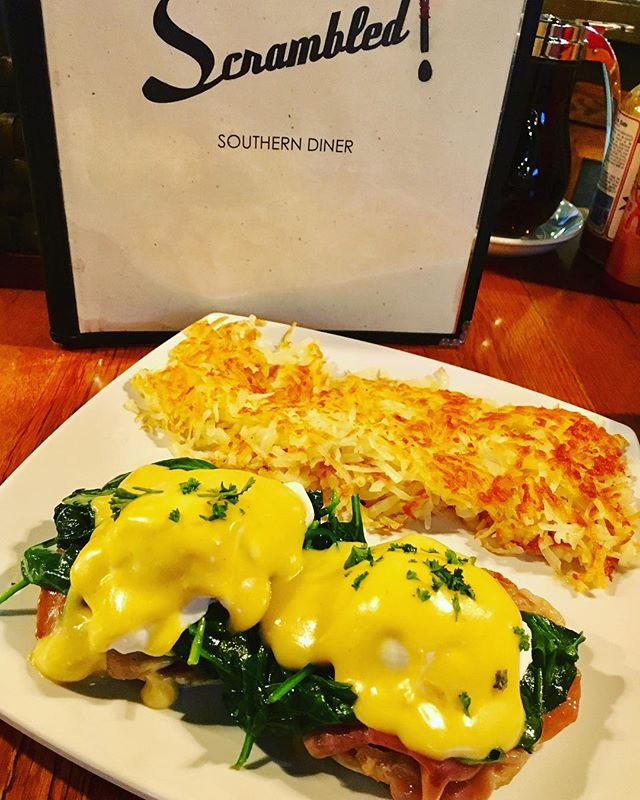 When you're in the mood for fresh, tasty and creative cuisine, it's time to get Scrambled! This week we have a Prosciutto Benedict,made with prosciutto, spinach, poached eggs, and hollandaise with your choice of bread and side!