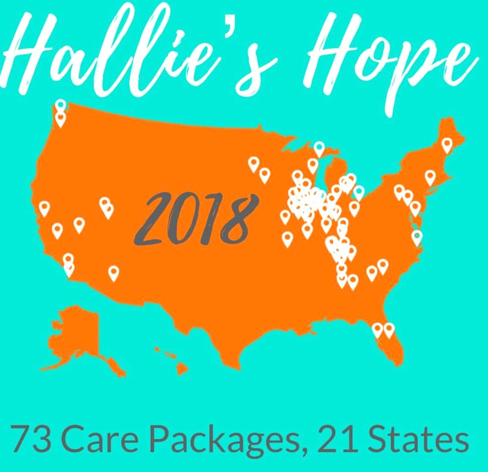 We sent 73 care packages in 2018, across 21 states. - And each one is hero! If you've found us because you received socks, hello! We are so honored to have been able to connect with you.If you'd ever like to share a shot in your socks, post with #hallieshope or #halliestrong or email us at hallieshope@halliestrong.org. We'd love to hear from you!